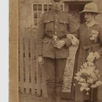 Mr Grandfather and Mother on their wedding day, He was wounded twice and came home on leave recovering from his 2nd wound from the battle of Passchendaele to get married